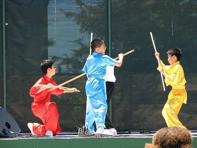 Students of California Kung Fu Tai Chi Institute performaing Staff Fighting